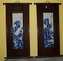 Pair 19th C Chinese blue and white porcelain plaques