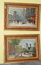 Pair Paris street scenes, oil on board.