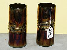 Pair signed art glass vases