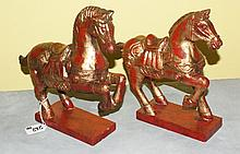 Pair polychrome wood horses.