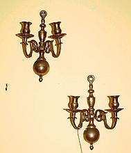 Pair brass 2 light wall sconces