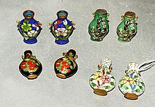 4 pairs Chinese antique miniature cloisonne vases