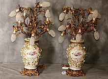 Pair 19th C German porcelain bronze mounted candleabra lamps with overall applied flowers and haveing 10 lights with crystal beaded light bulb covers.