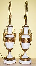 Pair Antique French bronze mounted bisque lamps.