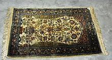 Oriental signed prayer rug. 3'6 X 2'5.
