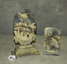 2 Chinese soapstone table screens. Largest H:12