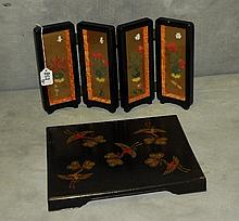 Chinese laquered tray and Chinese hardstone mounted