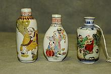 Three antique Chinese porcelain snuff bottles with