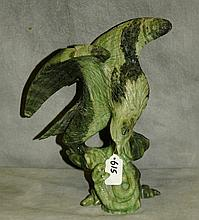 Chinese jade eagle and snake carved sculpture. H:10.5