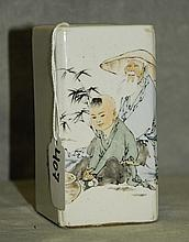 Chinese porcelain brush pot with caligraphy and seal.