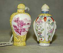 2 Chinese porcelain snuff bottles. H:2.75