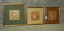3 Chinese framed embroidered silk panels. H:11.5