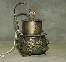 Antique Chinese hardstone and silver incense burner.