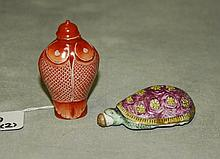 2 chinese porcelain figural snuff bottles. H:2.75