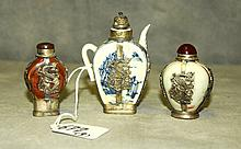 3 Chinese silver and porcelain snuff bottles. Largest