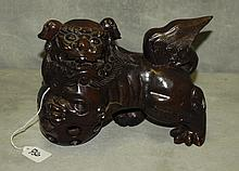 Chinese carved wood foo dog. H:7.5
