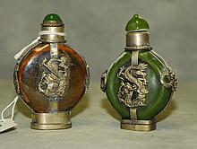 2 Chinese porcelain and silver snuff bottles. H:2.75
