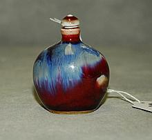 Chinese flambe porcelain snuff bottle. H:2.5
