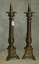 Pair 19th C bronze pricket sticks. H:23