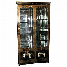 Chinese Black Lacquer and Hardstone Collector's Cabinet