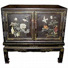 Chinese Black Lacquer and Hardstone Cabinet on Stand