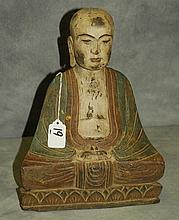 Chinese carved and polychrome wood figure of a Buddha. H:13