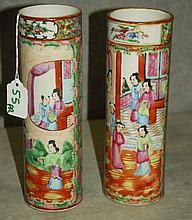 Pair 19th C Chinese Rose Medallion porcelain vases.