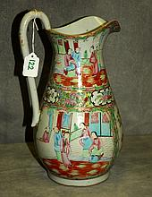 Antique Chinese Rose Medallion porcelain pitcher.