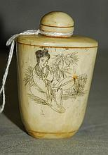 Chinese marine ivory snuff bottle. H:2.75