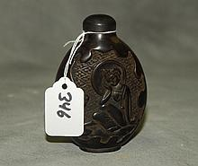 Large Chinese carved snuff bottle. H:L4