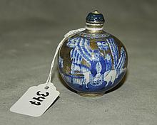 Chinese silver and blue porcelain snuff bottle. H:2.75