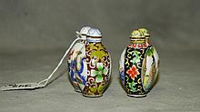 2 Chinese porcelain snuff bottles with marks on bottom.