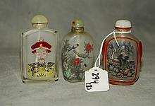 3 Chinese reverse glass painted snuff bottles. H:3.25
