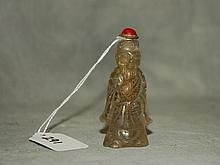 Chinese rock crystal figural snuff bottle. H:3