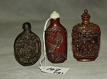 3 Chinese carved snuff bottles. H:3.25