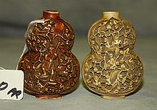 2 Carved Chinese snuff bottles. H:3.25