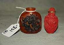 2 Chinese snuff bottles. H:2.25