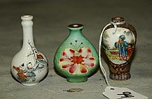 3 antique Chinese porcelain snuff bottles all with