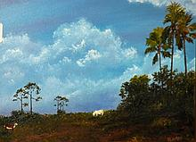 Florida artist oil on panel signed Redman. Overall size