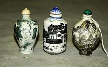 3 Chinese porcelain snuff bottles 2 with marks on
