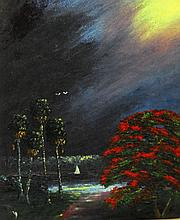 Florida Highwaymen painting on board by Charls Wheeler.