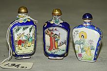 Three antique Chinese enamel snuff bottles. H:2.75