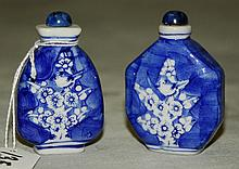 Two Chinese blue and white porcelain snuff bottles with
