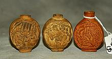 3 Chinese carved snuff bottles. H:2.5
