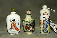 3 Chinese porcelain snuff bottles . H:3.25