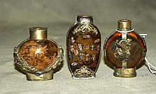 3 Chinese silver mounted reverse glass painted snuff