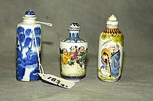 3 Chinese porcelain snuff bottles all with marks n