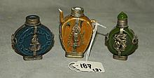 3 Chinese silver mounted porcelain snuff bottles. H:3