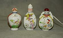 3 Chinese porcelain snuff bottles one with a mark on
