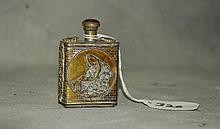 Chinese silvered metal snuff bottle with marks on